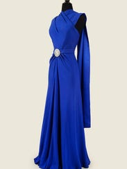Satin-back rayon crepe evening dress likely made about