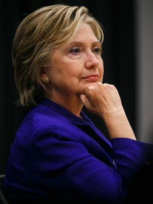 Democratic presidential candidate Hillary Clinton talks with the Des Moines Register Editorial Board in Des Moines on Tuesday, September 22, 2015.