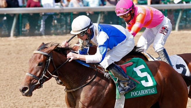 Corey Lanerie got Dothraki Queen through a narrow opening at the top of the stretch before going on to beat Bold Quality by a half-length in the Grade II Pocahontas.