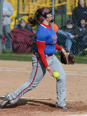 Union County's Danielle Franklin releases a pitch during a softball game at Northeastern last season. Franklin will continue her softball career at Indiana Tech.