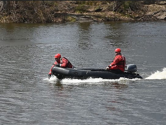 Water rescue from Paterson Rescue 2 is seen as they