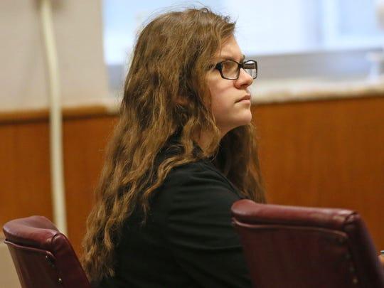 Defendant Anissa Weier listens to testimony Thursday, Sept. 14, 2017, in the Slender Man stabbing trial.