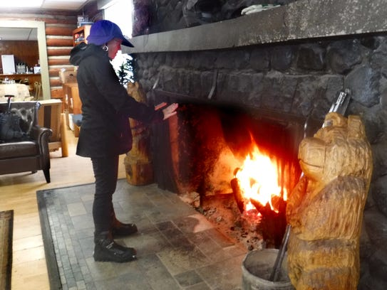 Diamond Lake Lodge's fireplace keeps visitors warm