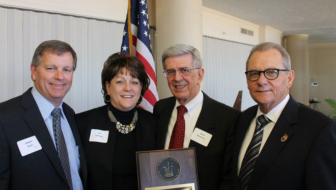 Shreveport Chamber of Commerce President Dick Bremer (far right) announced his retirement May 25, 2016. He is pictured here with (from left) Robert Dean, 2015 chairman of the Shreveport Chamber, Jerri DiPingre, president of the Minden-South Webster Chamber and Harry E. McInnis, 2015 Business Leader of the Year.