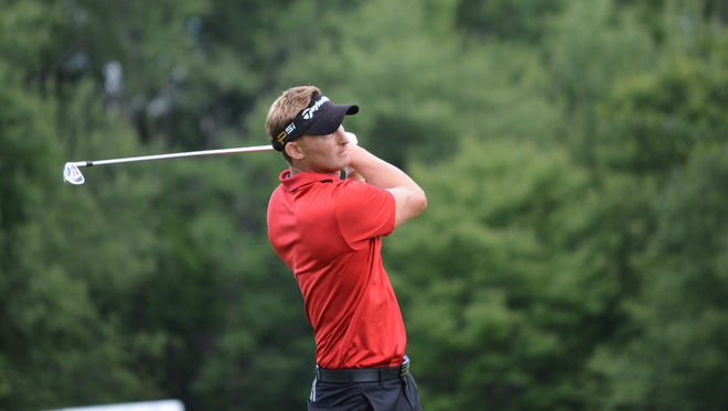 Tyler Hall from Upper Montclair fired a 7-under-par 64 in Monday's opening round of the NJSGA Open Championship at Galloping Hill in Union.