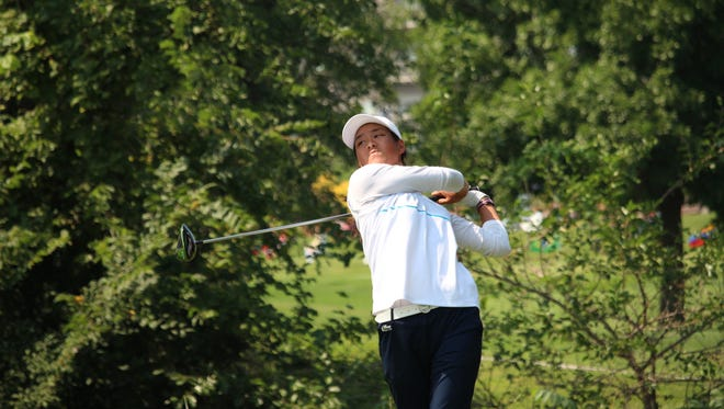 Celine Boutier shot a course-record 63 to take a one-stroke lead at the GreatLIFE Challenge at Willow Run Golf Course on Saturday.