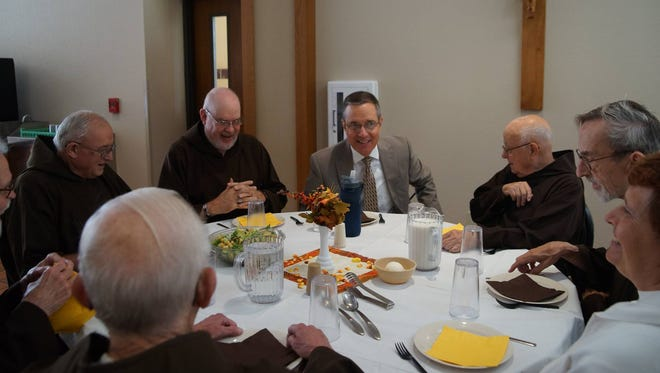 Monks as well as other members of the St. Lawrence Seminary community celebrated the Feast of St. Francis with a a banquet on Oct. 3.