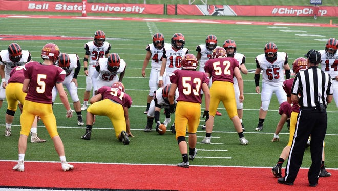 Blackford quarterback Caleb Mealy gets the offense set up in the Bruins' 70-52 win over Alexandria at Ball State on Saturday, Sept. 15.