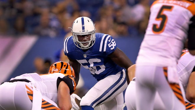 Colts linebacker Daniel Adongo in action during the preseason.