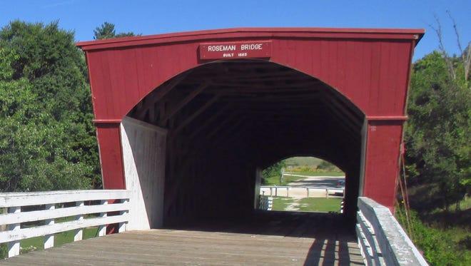 "Roseman Bridge in Madison County, Iowa, figures prominently in ""The Bridges of Madison County."""