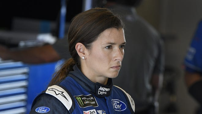 Monster Energy NASCAR Cup Series driver Danica Patrick (10) in her garage during practice for the Brickyard 400 at Indianapolis Motor Speedway.