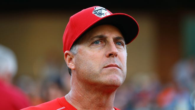 Cincinnati Reds manager Bryan Price against the San Francisco Giants during a spring training game at Scottsdale Stadium.