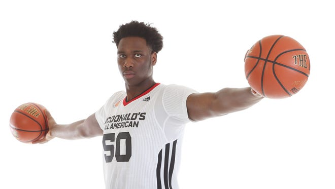 McDonalds High School All American athlete Caleb Swanigan (50) poses for pictures during portrait day .