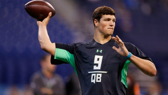 Hackenberg throws a pass during the combine on Saturday.