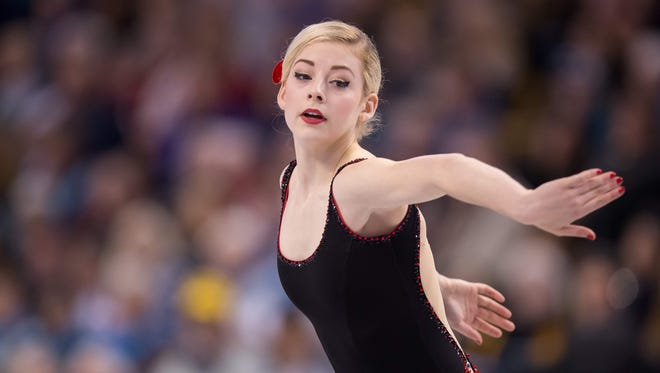 Gracie Gold of the United States performs her short program in the Ladies competition at the ISU World Figure Skating Championships at TD Garden in Boston/