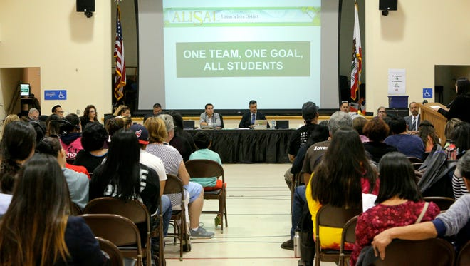 People for and against the school resource program proposal filled the room at the Alisal Union School District meeting on Wednesday.