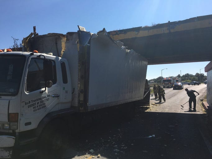 A truck was significantly damaged Thursday, Nov. 16,