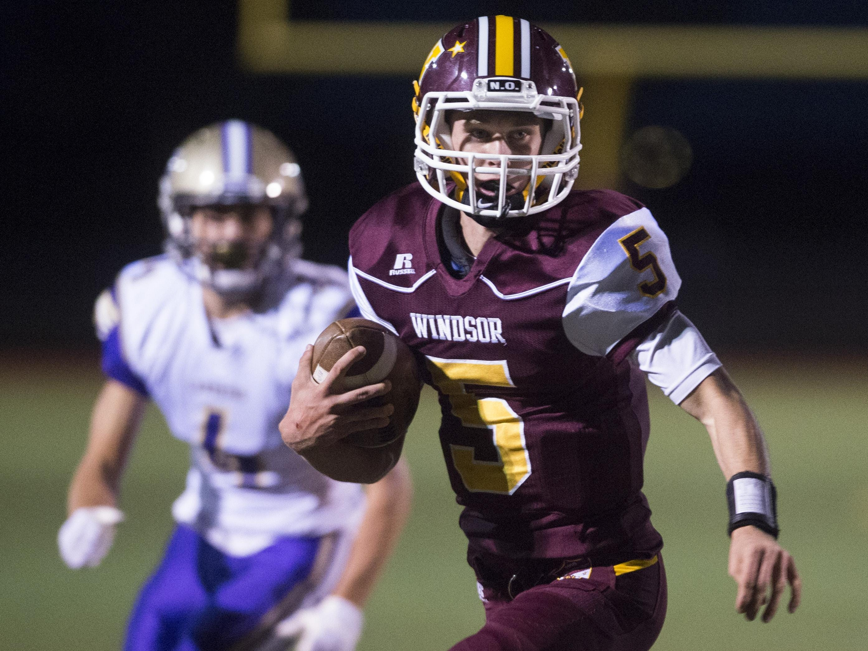 Windsor High School quarterback Brad Peeples is the second leading rusher in the area with 485 yards in four games.