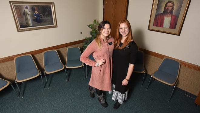 McKenzie Hall, right, and Morgan Humpherys have come to Coshocton on a Mormon mission.