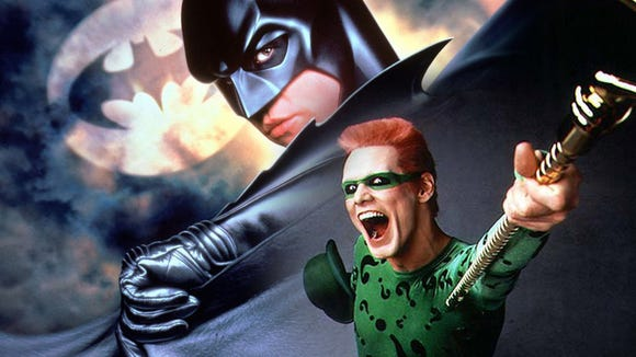 Val Kilmer's pouty-lipped Batman could never live up to Michael Keaton's turn as the Caped Crusader, though Jim Carrey as The Riddler and Tommy Lee Jones as Two Face were fun to watch.