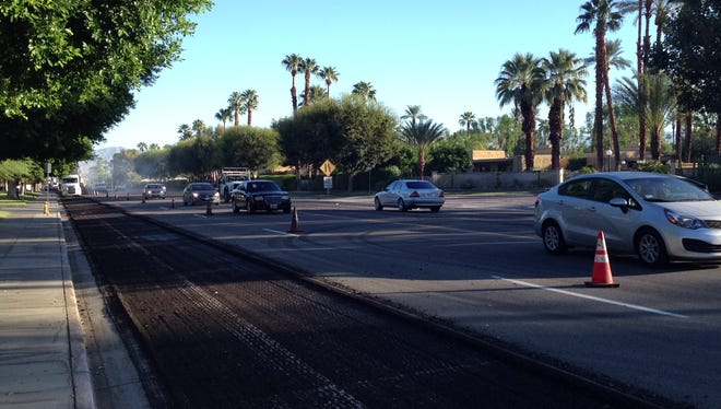 Traffic flows south on Gene Autry Trail in Palm Springs, where a road paving project is taking place. CalTrans warns motorists to find alternate routes Tuesday.