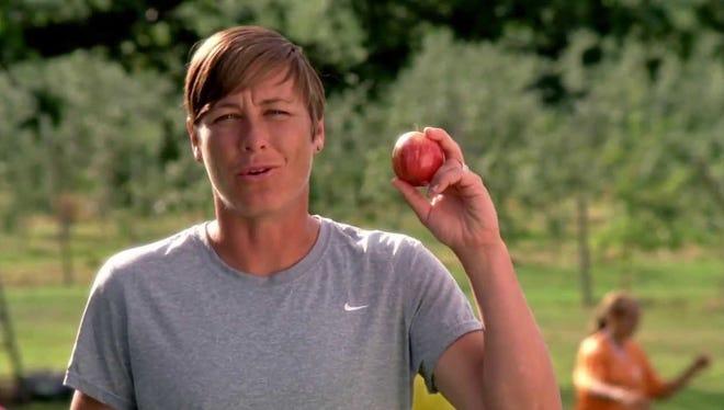 A screenshot from the award-winning New York Apple Association commercial featuring Abby Wambach.