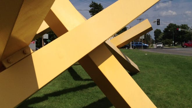Sun Target is an abstract sculpture outside the Springfield Art Museum.