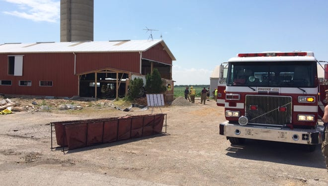 A portion of Greiner Road at County N in Outagamie County was closed Monday as firefighters battled a barn blaze.