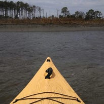 A kayaker paddles off shore on Delmarva.