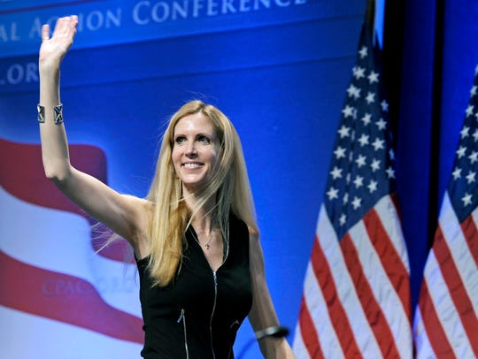 In this Feb. 12, 2011 file photo, Ann Coulter waves
