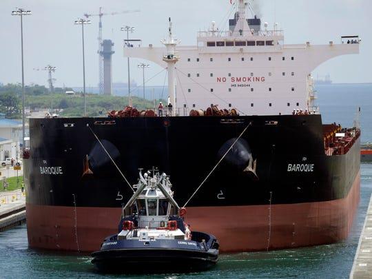 A Malta-flagged cargo ship named Baroque navigates