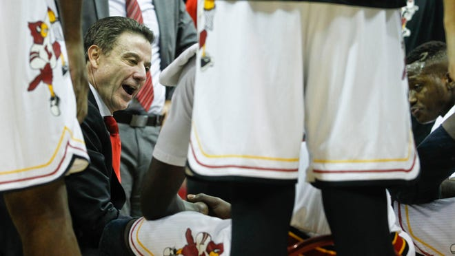 Louisville's Rick Pitino had plenty to say during a timeout with his team as the Cardinals lost to Duke 63-52 at the KFC Yum! Center Saturday. Jan. 17, 2015 By Matt Stone, The Courier-Journal