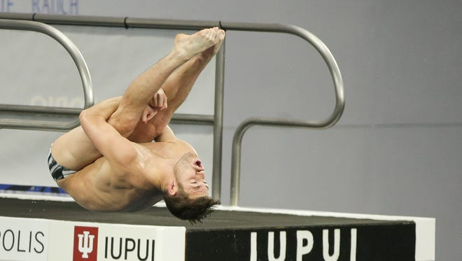 David Boudia competes in the 2016 U.S. Olympic Men's 10 Meter Platform Final at the IUPUI Natatorium on June 26, 2016. David Boudia and Steele Johnson will move forward and represent team USA in the 2016 Summer Olympics in Rio this August.