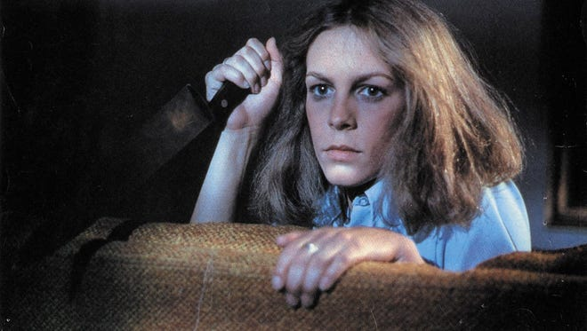 "Jamie Lee Curtis prepares to defend herself, for the first time, in ""Halloween."""