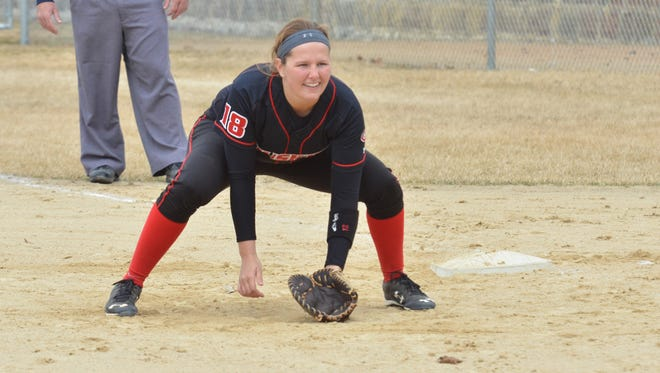 Jessica Goerger, a sophomore first baseman, will be part of the St. Cloud State University team playing Thursday in the first round of the NSIC conference tournament.