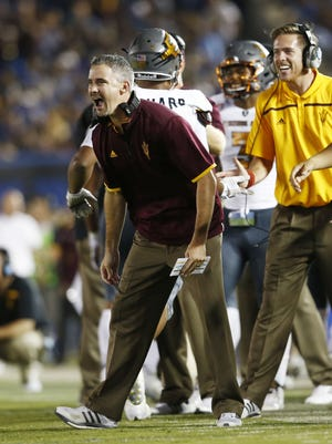 ASU's coach Mike Norvell celebrates after a toucdown against UCLA in the second half on Oct. 3, 2015 at the Rose Bowl in Pasadena, CA.