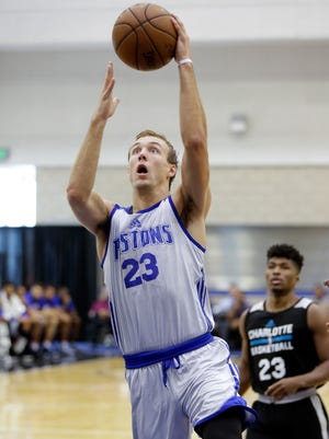 Pistons guard Luke Kennard goes up for a shot against the Hornets in an NBA summer league game July 5, 2017 in Orlando.