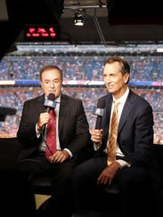 Al Michaels (l) and Chris Collinsworth in the broadcast