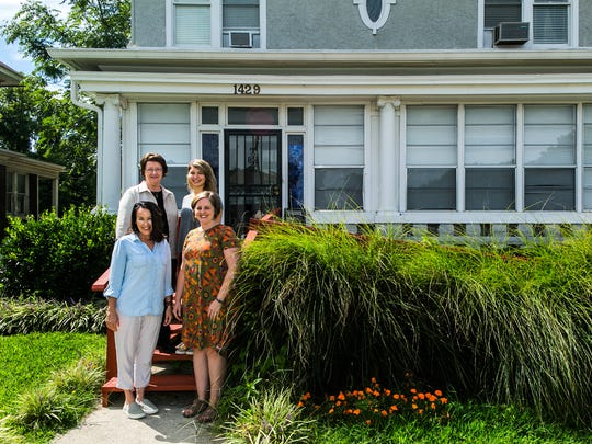 August 25, 2017 - Dorothy Day House executive director Sister Maureen Griner (back, left), stands with staff members: volunteer and education coordinator Genevieve Spears (back, right); director of development Tracy Burgess (front, right); and house manager Angela Pieroni (front, left). Dorothy Day House, located at 1429 Poplar Ave., is a transitional house for the homeless. Every night in Memphis, 160 families are on the streets or in a shelter. In Shelby County Schools last year, 860 children were considered homeless.