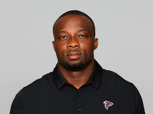 FILE - This is a June 12, 2017, file photo showing Atlanta Falcons NFL football defensive coordinator Marquand Manuel. It took a while to get his footing, but first-year coordinator Marquand Manuel has the Atlanta Falcons' defense playing at a high level. (AP Photo/File)