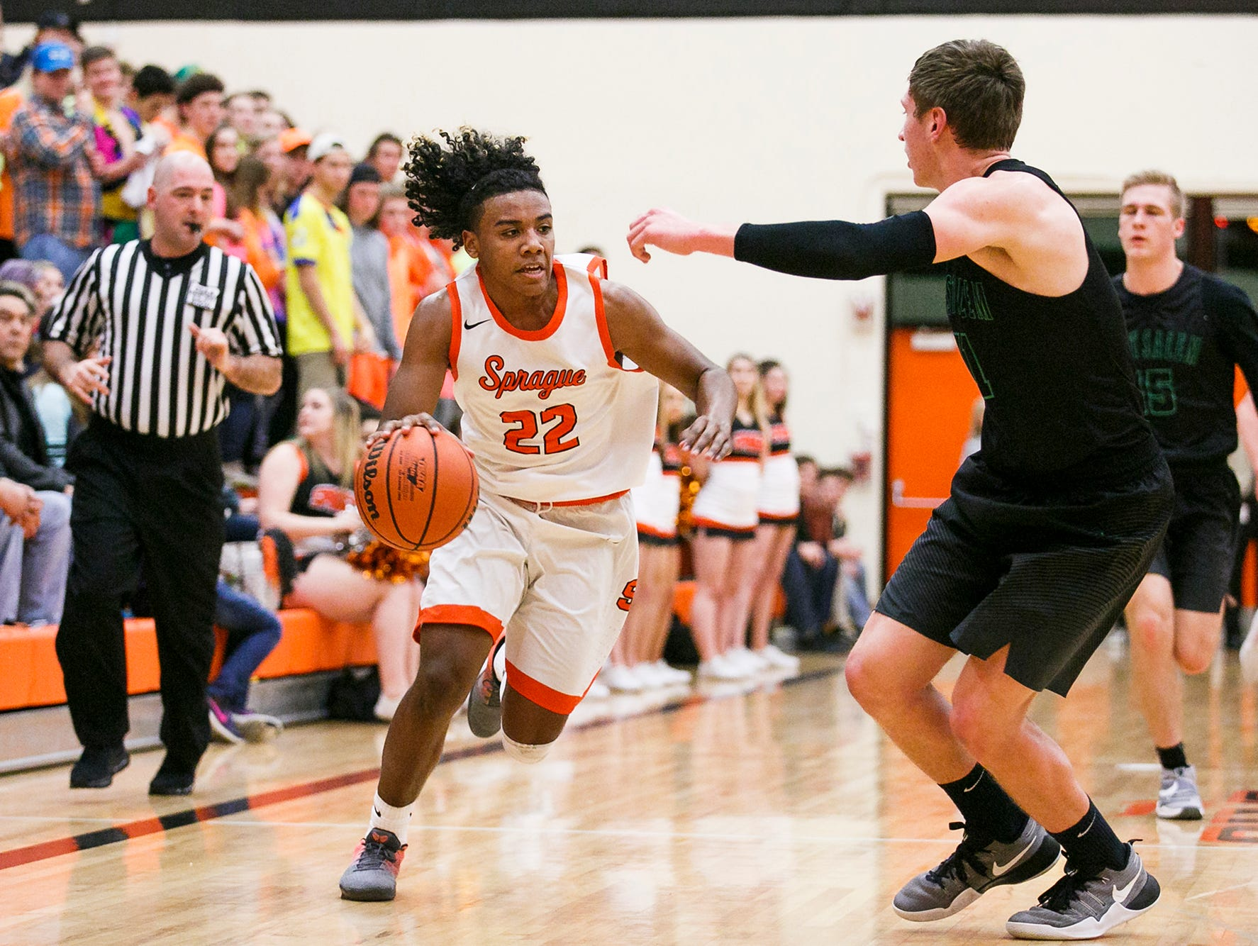 Sprague's Jailen Hammer drives toward the basket in a game against West Salem on Tuesday, Feb. 7, 2017, at Sprague High School. Sprague beat West Salem 71-65 to take first place in the Greater Valley Conference.