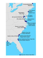 The bases studied spanned the East and Gulf Coast.