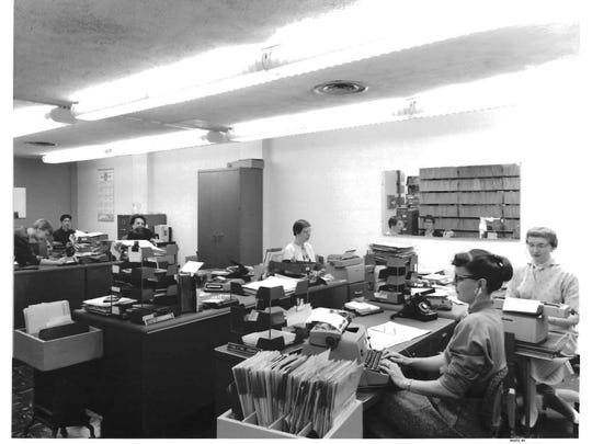 Medical secretaries work at the Great Falls Clinic location at 1220 Central Ave. in 1959.