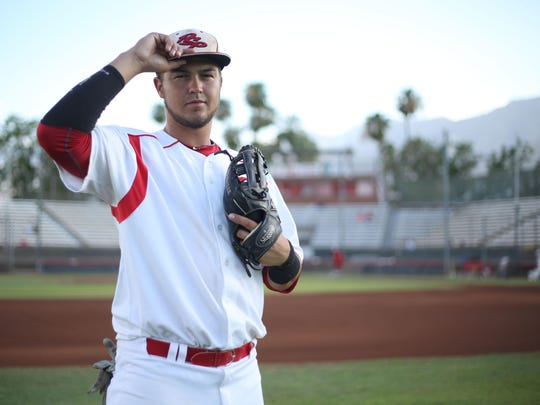 First baseman Jonathan Serven of the Palm Springs Power graduated from Palm Desert High School and is currently at Long Beach State University.
