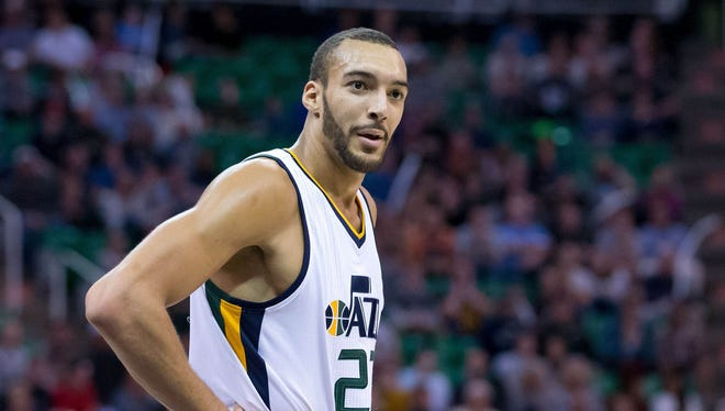 Utah Jazz center Rudy Gobert (27) reacts to a call during the second half against the New Orleans Pelicans at Vivint Smart Home Arena.