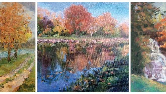 """Karlene VanDeusen's works include, from left, """"Fall on the Erie Canal,"""" a plein air oil painting painted on Canal Road at Sweden Walker Road; """"Autumn on the Erie"""" an oil painting; and  """"Holley Falls"""" a pastel painting."""