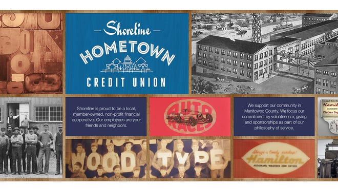 Shoreline Credit Union composite, reprising its history in Manitowoc County.