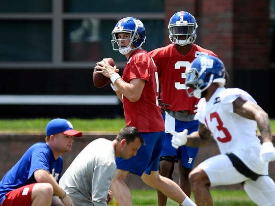 New York Giants quarterback Davis Webb participates