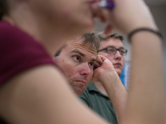 Matt Brodt (center) listens during professional development training, April 26, 2017, at Clarendon Elementary School in Phoenix.