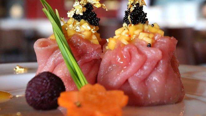 Above, tuna dumpling sushi at Mizu Hibachi Restaurant and Lounge in New City.